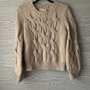 Banana Republic Chunky Cable Knit Wool Sweater